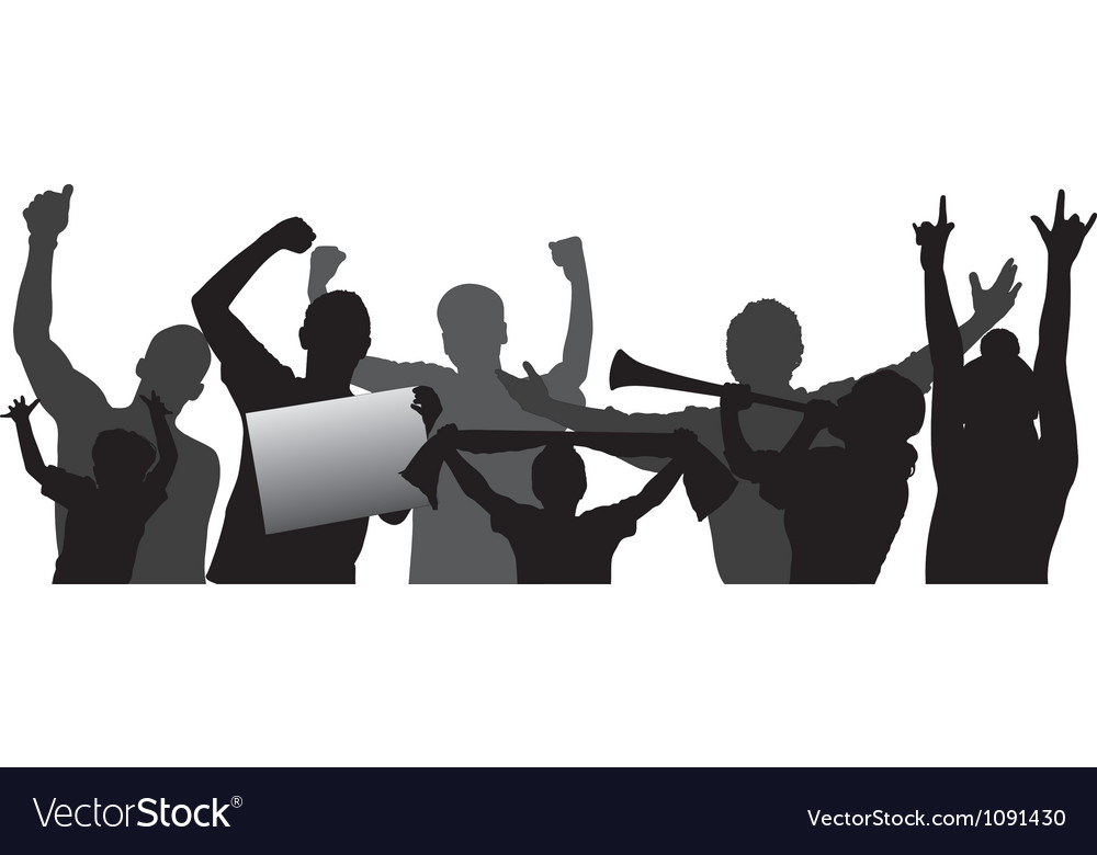 Sport fans cheering crowd silhouettes vector | Price: 1 Credit (USD $1)