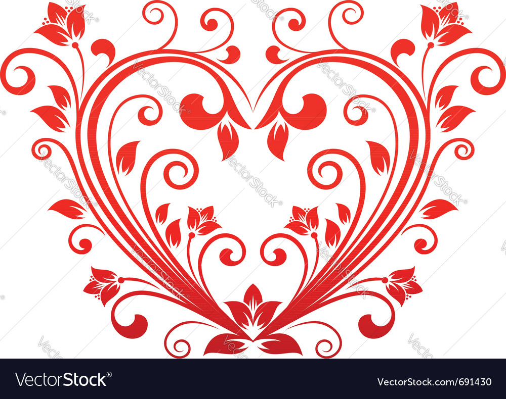 Valentine heart floral vector | Price: 1 Credit (USD $1)