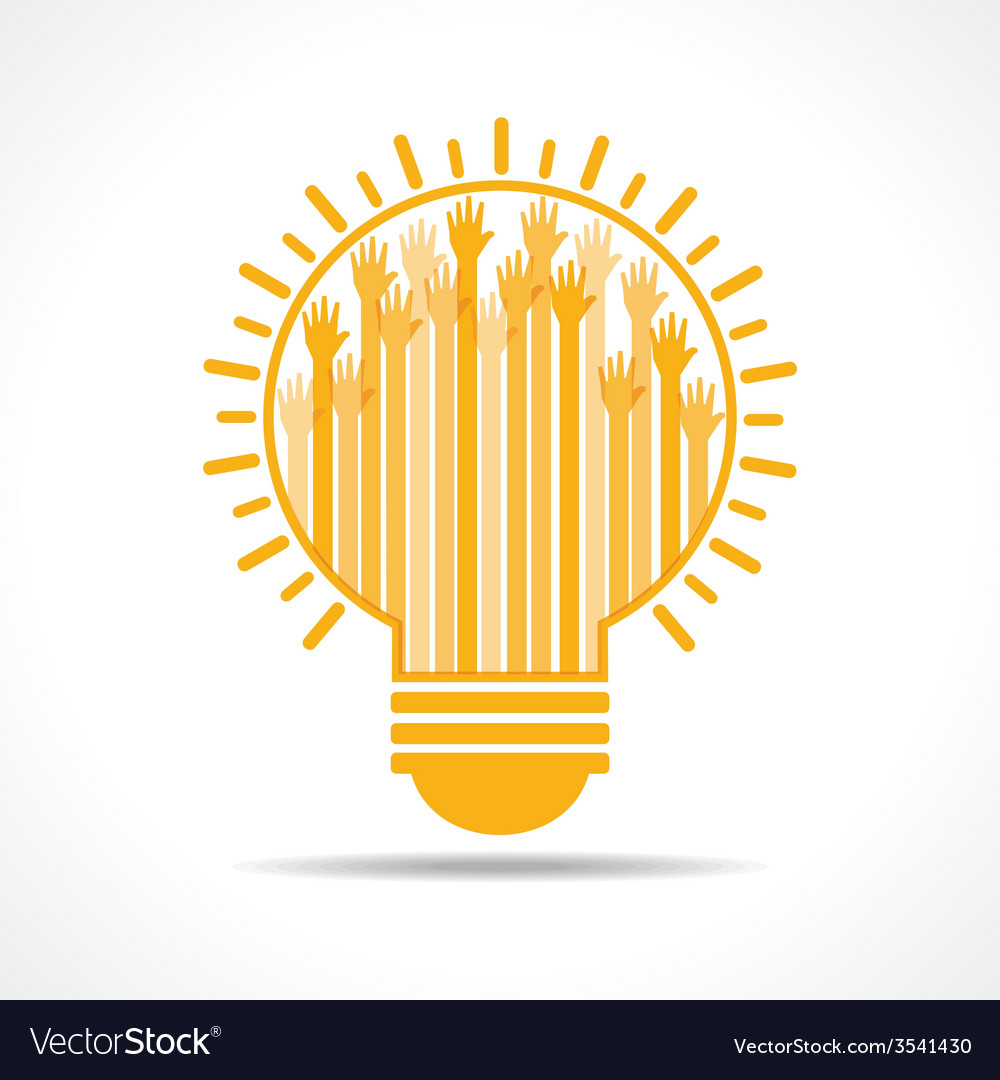 Yellow raised hand in the light-bulb vector | Price: 1 Credit (USD $1)