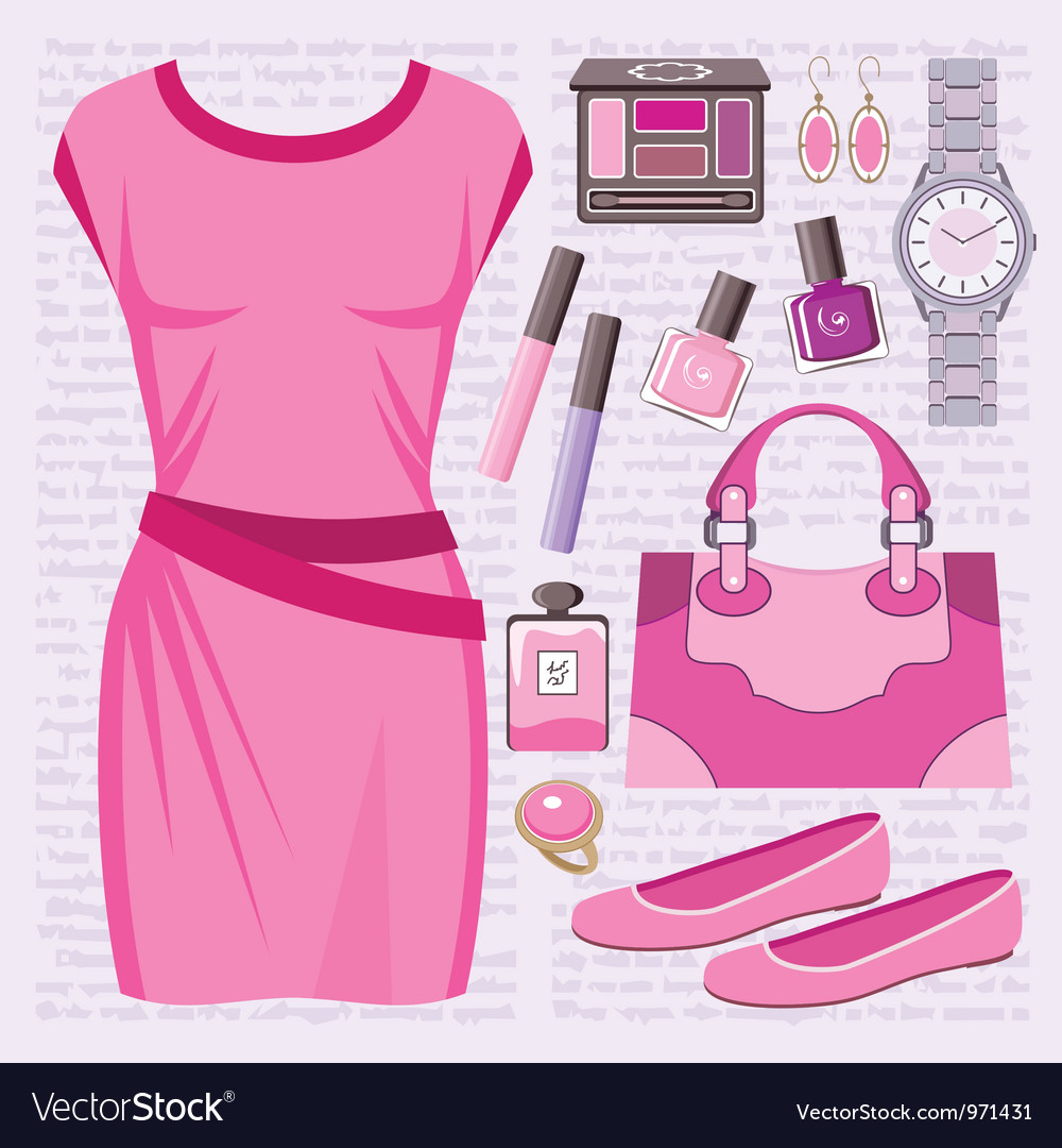 Fashion set with a casual dress vector | Price: 1 Credit (USD $1)