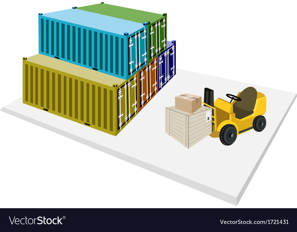 Forklift shipping boxes into container vector | Price: 1 Credit (USD $1)