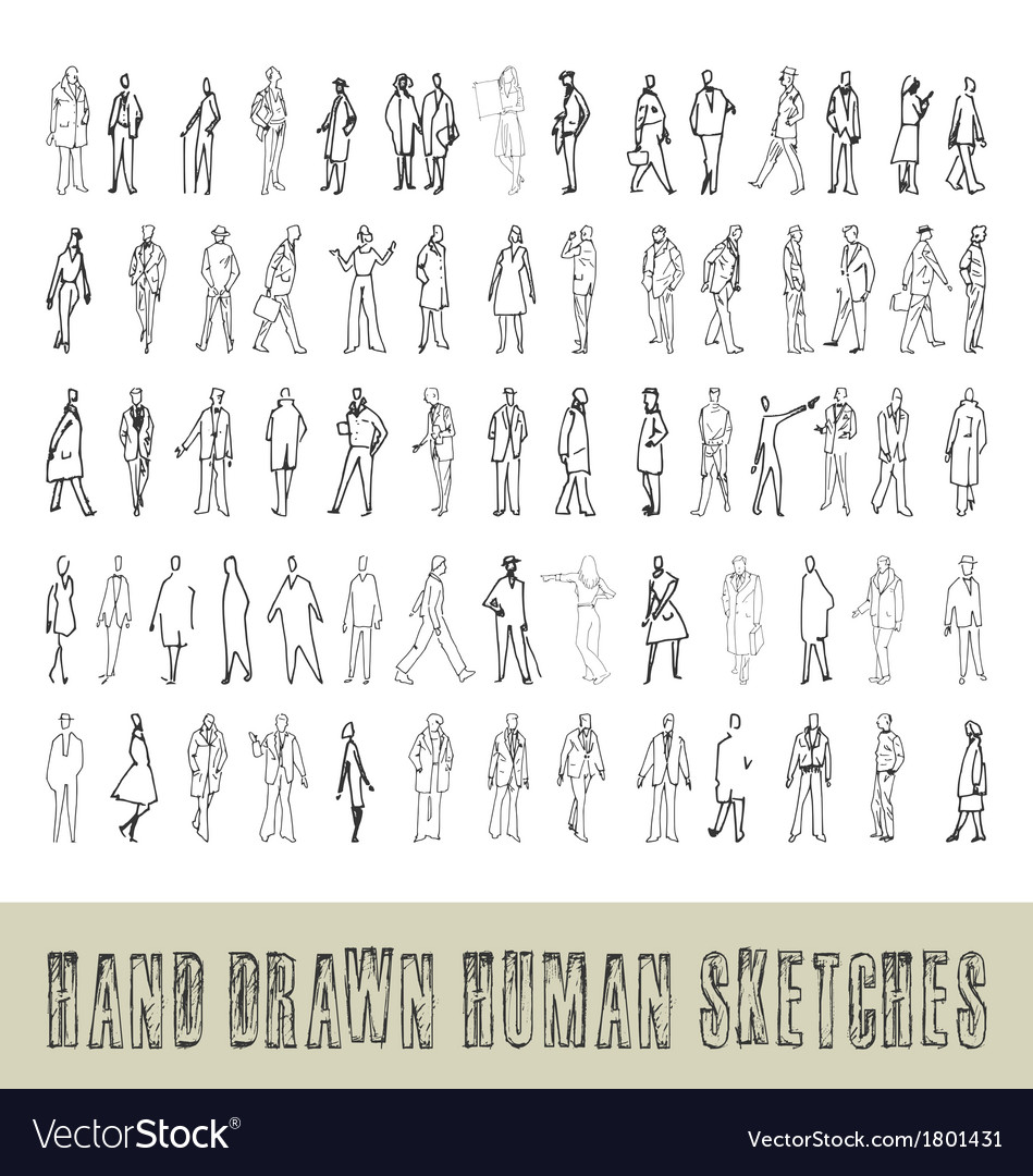 Hand drawn 70 human sketches vector | Price: 1 Credit (USD $1)