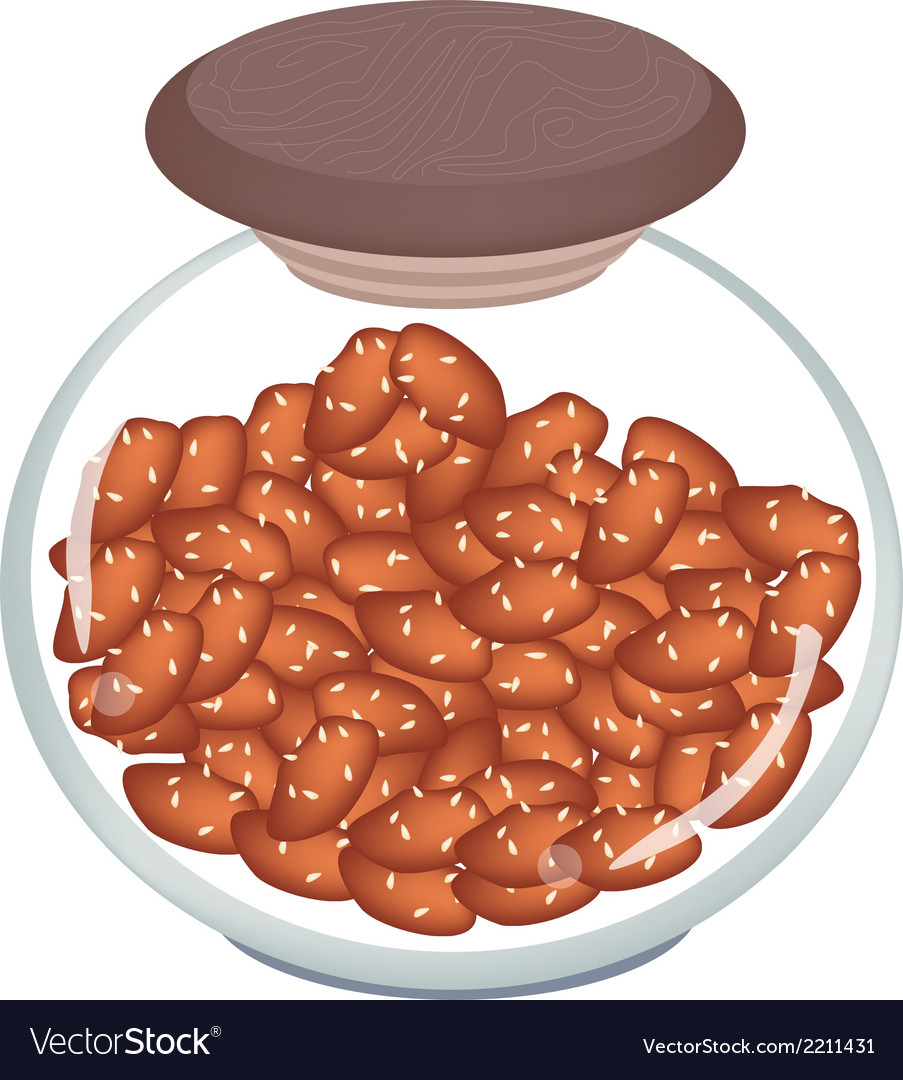 Jar of thai caramelised peanuts on white backgroun vector | Price: 1 Credit (USD $1)