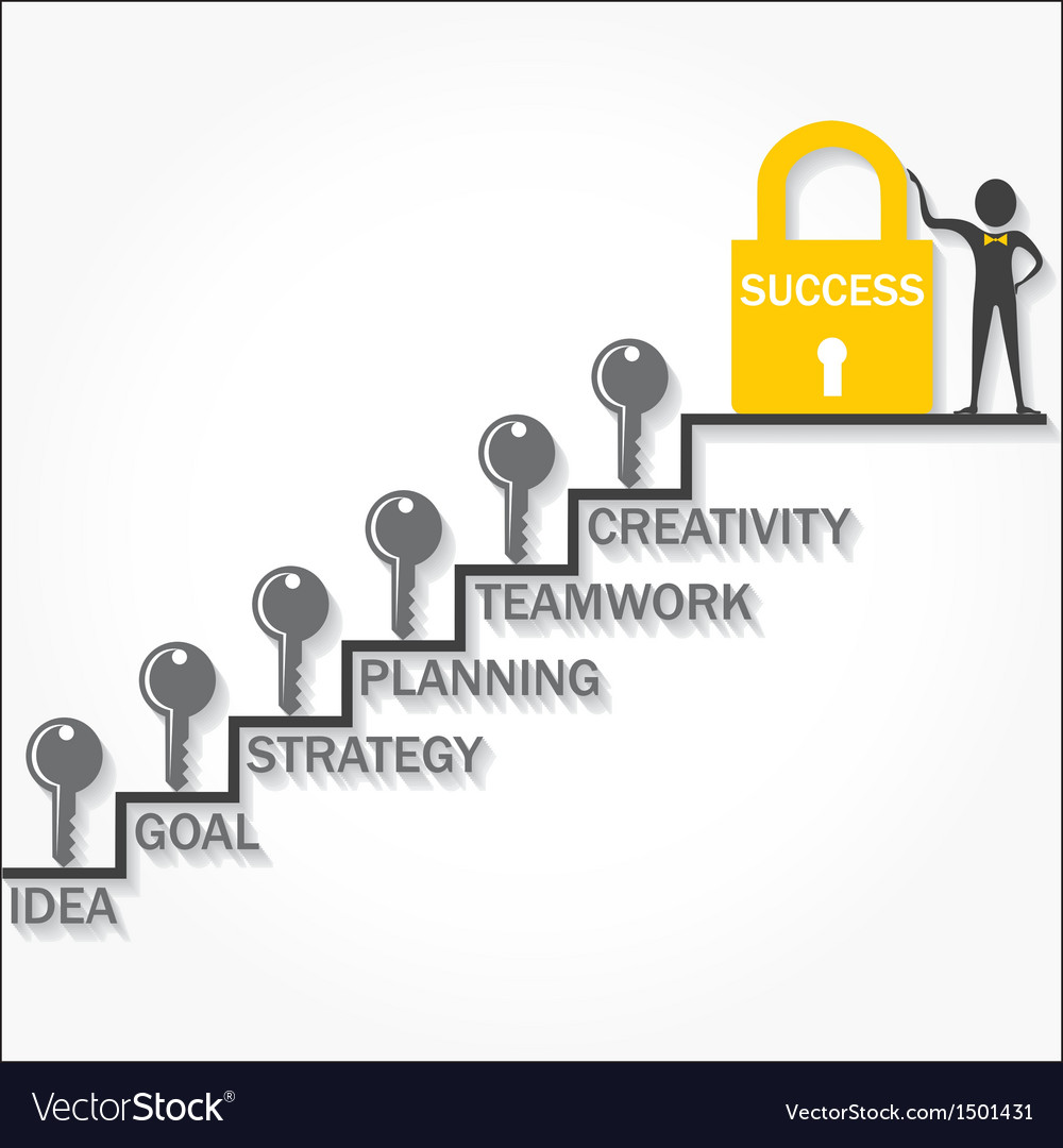 Keys climb up success stair and business man point vector   Price: 1 Credit (USD $1)