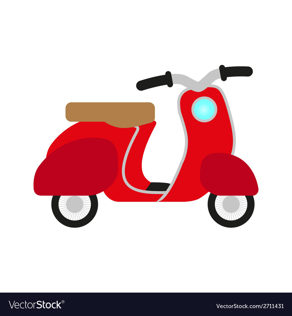 Red retro scooter vector | Price: 1 Credit (USD $1)