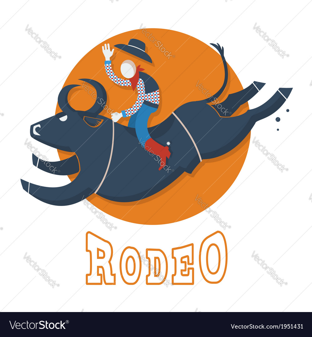 Rodeo symbolman riding a bull vector | Price: 1 Credit (USD $1)