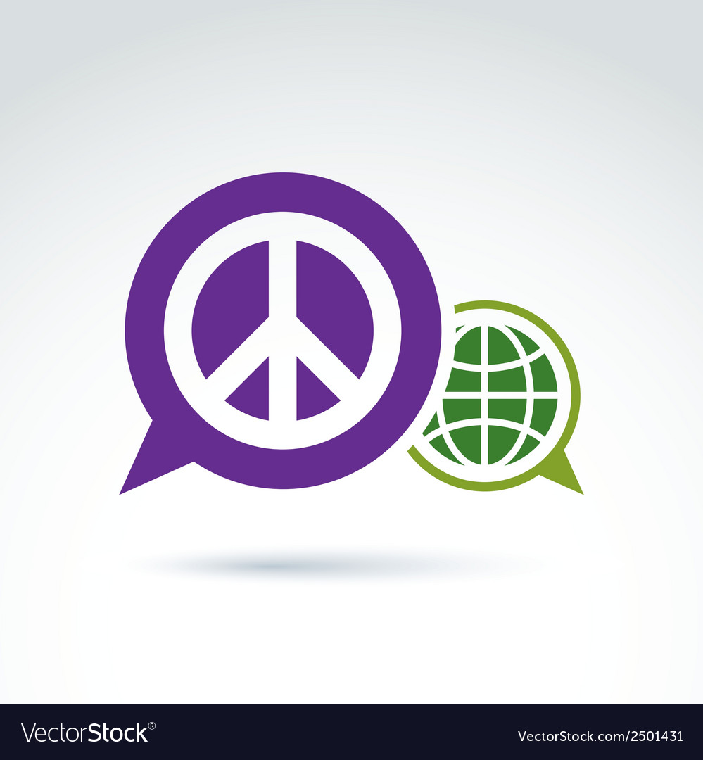Round antiwar icon green planet and speech bubble vector | Price: 1 Credit (USD $1)