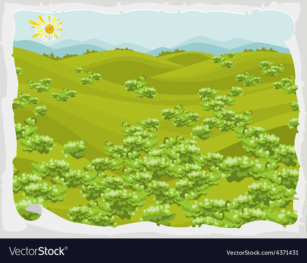 Summer landscape green hills with trees in frame vector   Price: 3 Credit (USD $3)