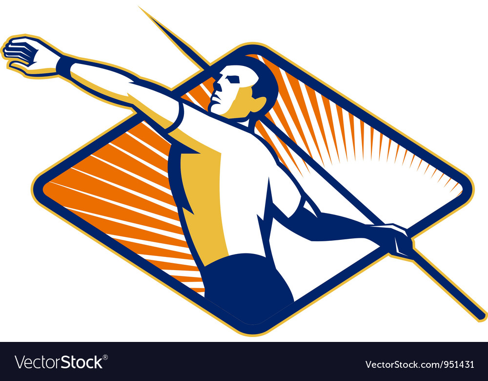 Track and field athlete javelin throw retro vector | Price: 1 Credit (USD $1)