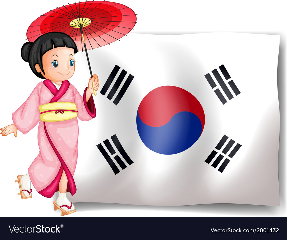 A south korean girl beside their flag vector | Price: 3 Credit (USD $3)
