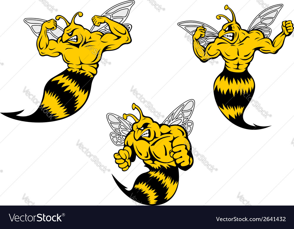 Angry cartoon wasp or hornets with a sting vector | Price: 1 Credit (USD $1)