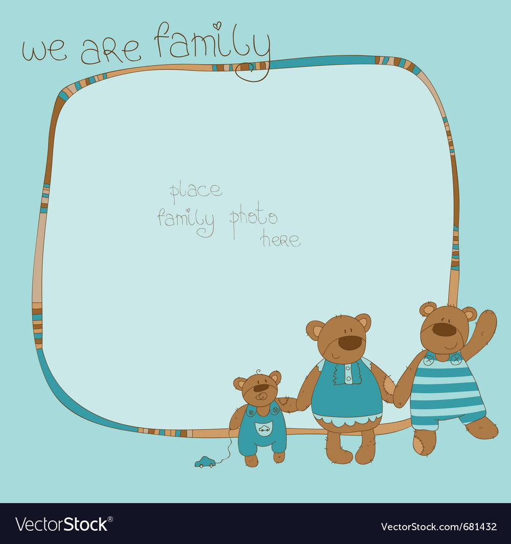 Bear family photo frame vector | Price: 1 Credit (USD $1)