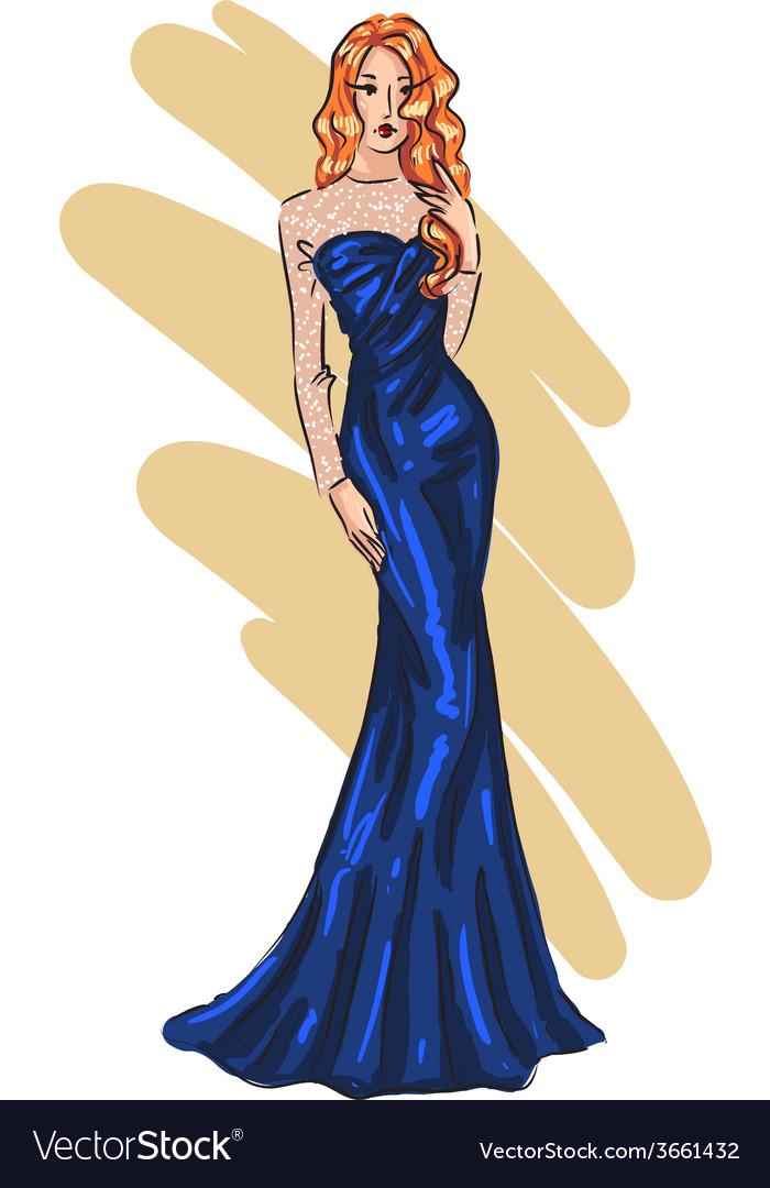 Fashion model posing vector | Price: 1 Credit (USD $1)