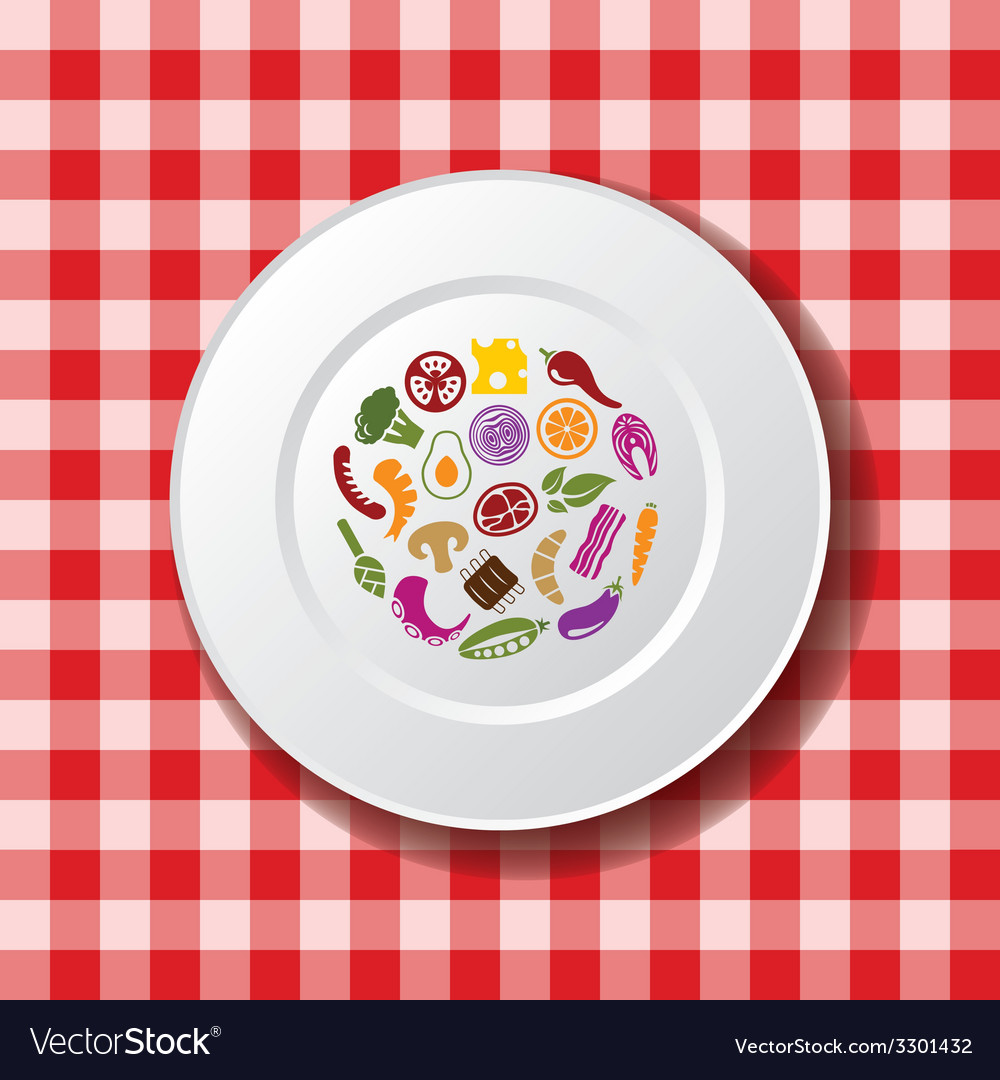 Food on the plate vector | Price: 1 Credit (USD $1)