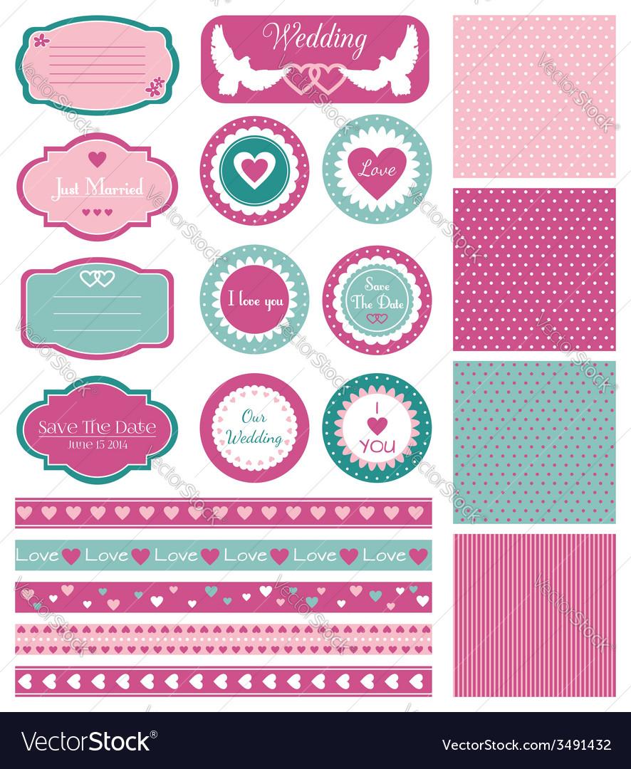Set for wedding design vector | Price: 1 Credit (USD $1)