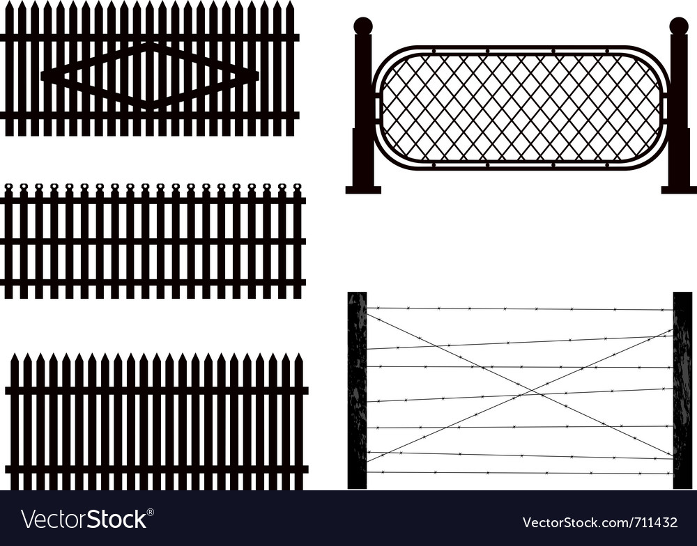 Silhouettes of fences vector | Price: 1 Credit (USD $1)