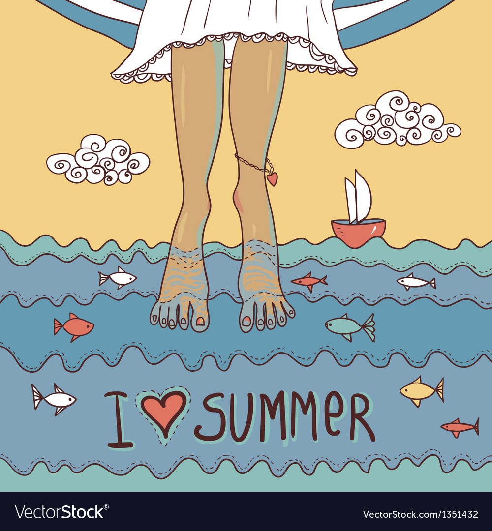 Summer card with legs in the sea vector | Price: 3 Credit (USD $3)
