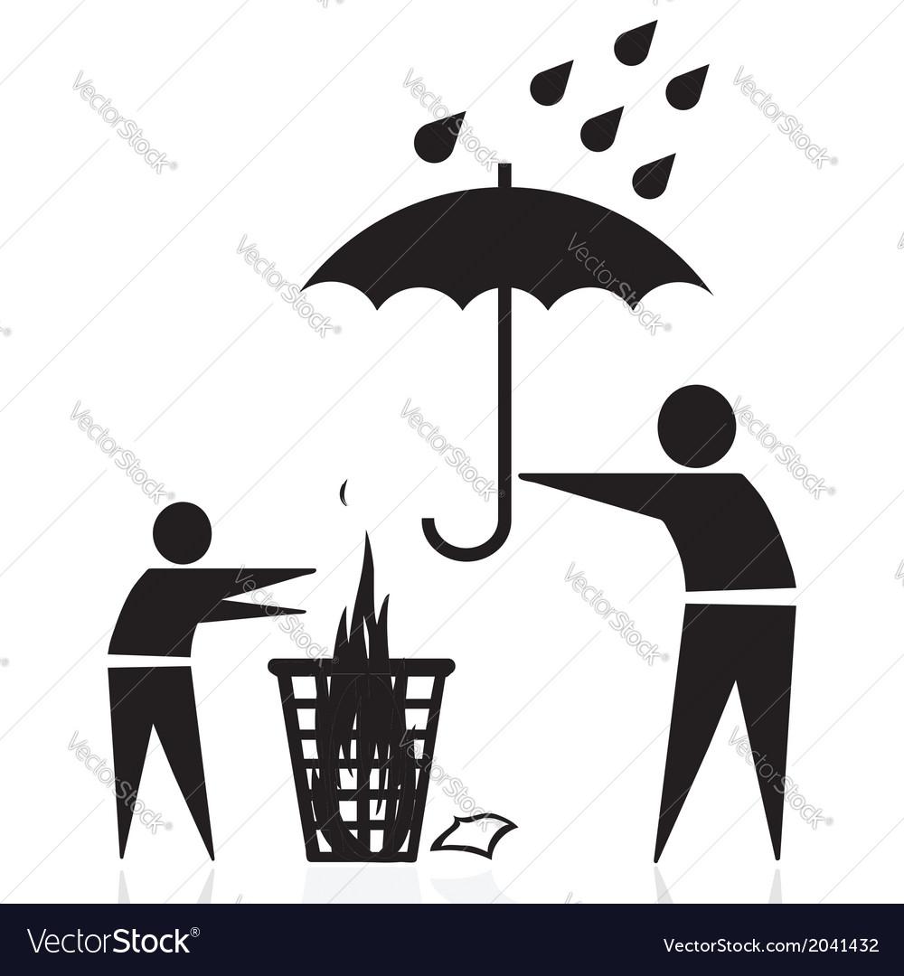 Trash fire rain vector | Price: 1 Credit (USD $1)