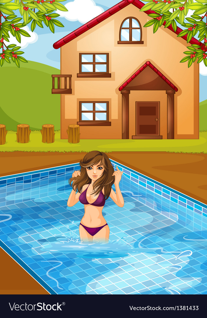 A sexy girl at the swimming pool vector | Price: 1 Credit (USD $1)