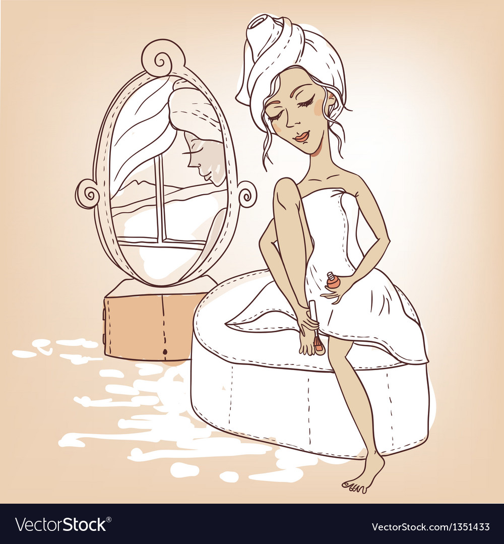 Beautiful girl with a towel on his head vector | Price: 3 Credit (USD $3)