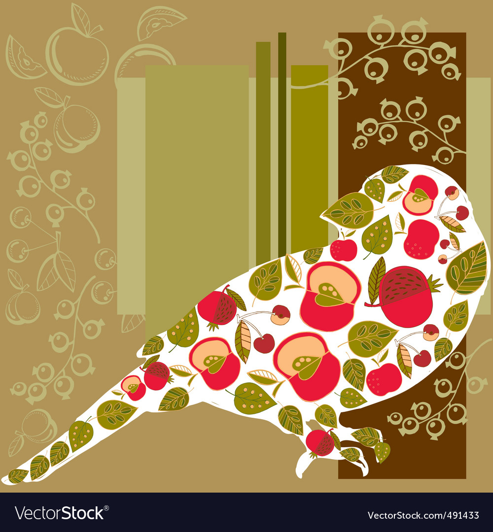 Bird and fruits background vector | Price: 1 Credit (USD $1)