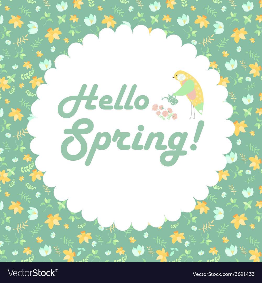 Bird and spring flowers vector | Price: 1 Credit (USD $1)