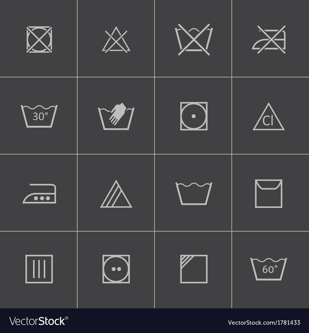 Black washing icons set vector | Price: 1 Credit (USD $1)