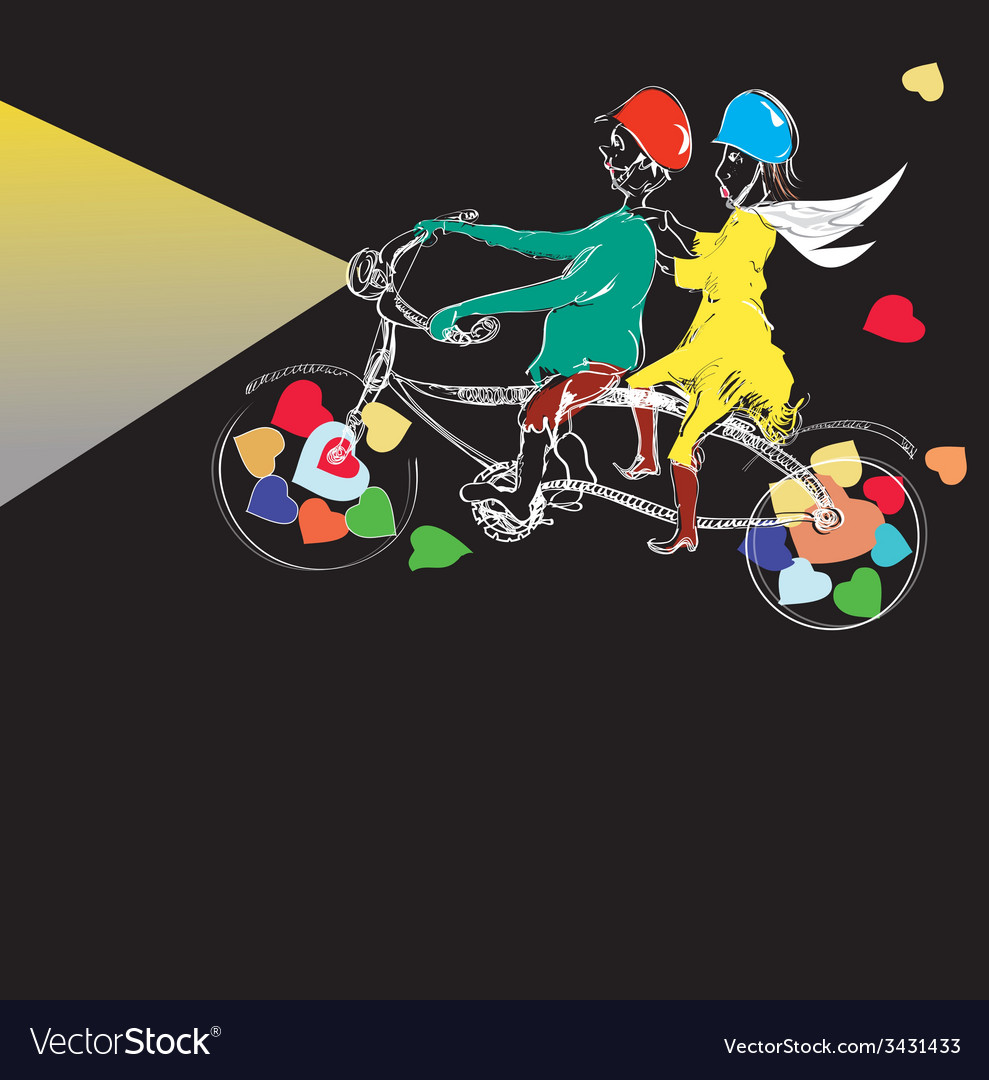 Couple cycling vector | Price: 1 Credit (USD $1)