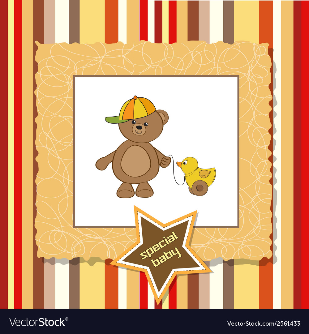 Cute greeting card with boy teddy bear vector | Price: 1 Credit (USD $1)