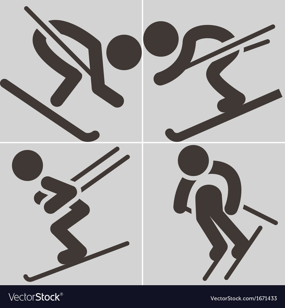 Downhill skiing icons vector | Price: 1 Credit (USD $1)