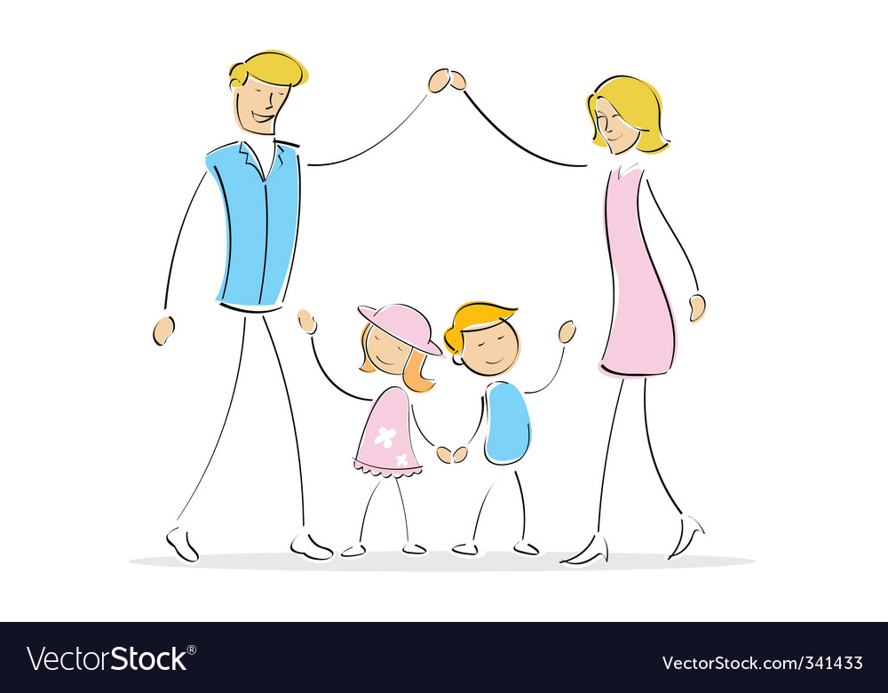Family forming shape of home vector | Price: 1 Credit (USD $1)
