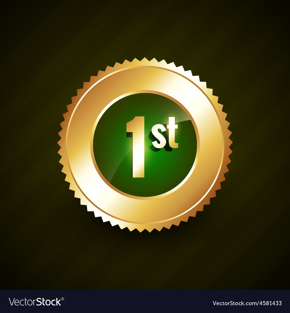 First number golden badge design vector