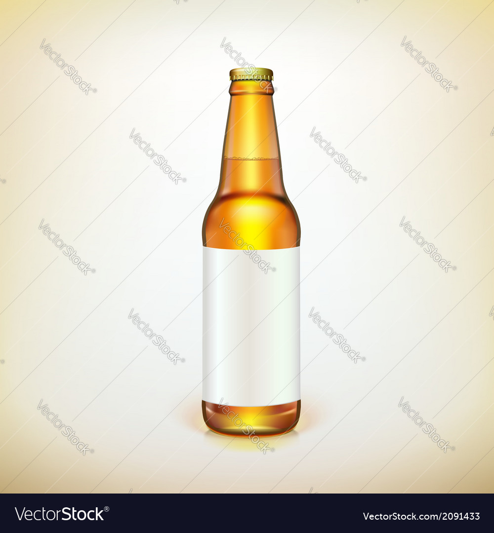 Glass beer brown bottle and label product packing vector | Price: 1 Credit (USD $1)