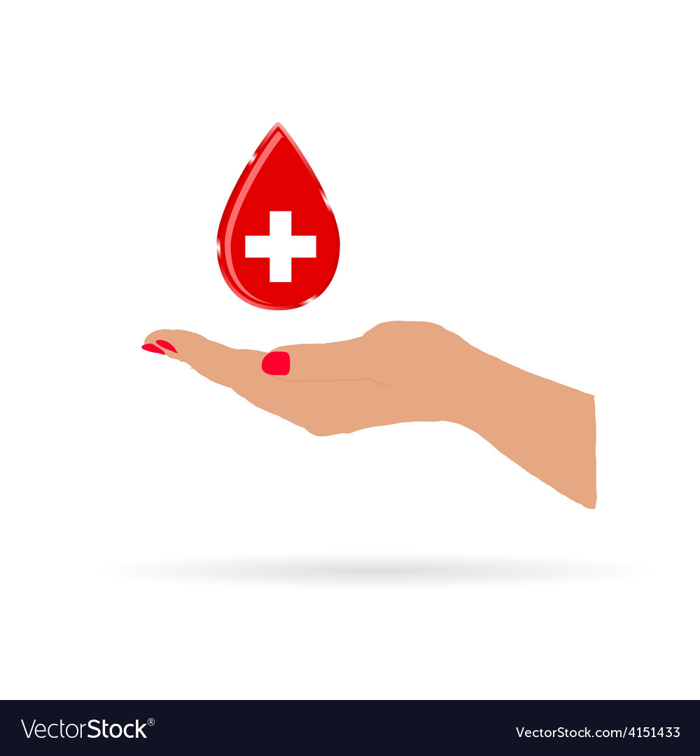 Hand with drop blood color vector | Price: 1 Credit (USD $1)