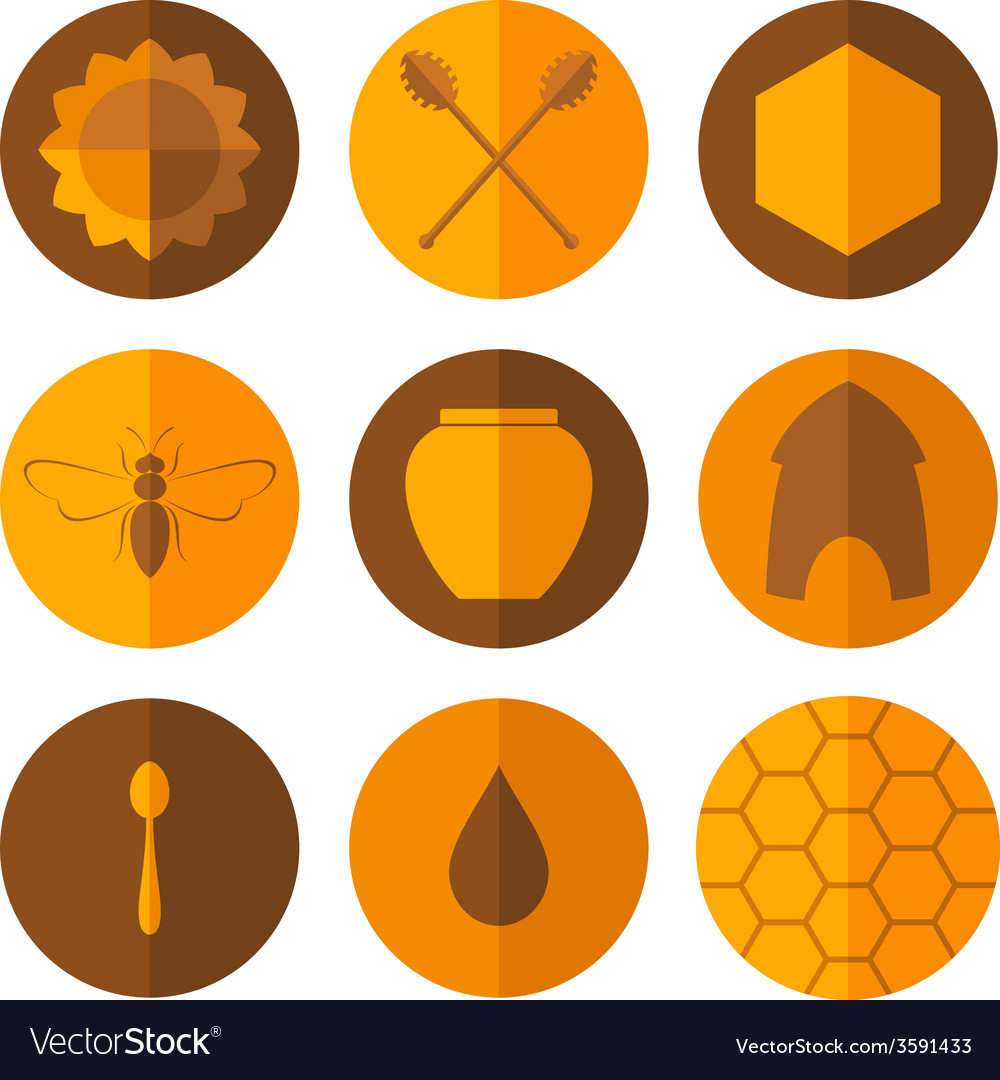 Honey icon set vector | Price: 1 Credit (USD $1)