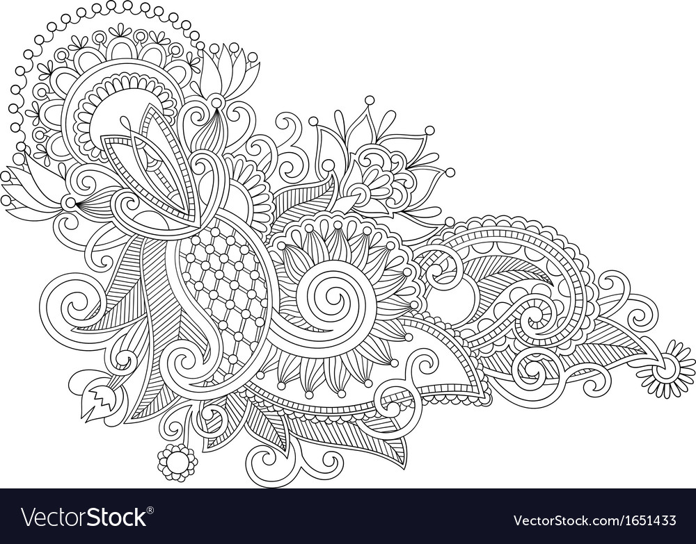 Line art ornate flower design vector | Price: 1 Credit (USD $1)