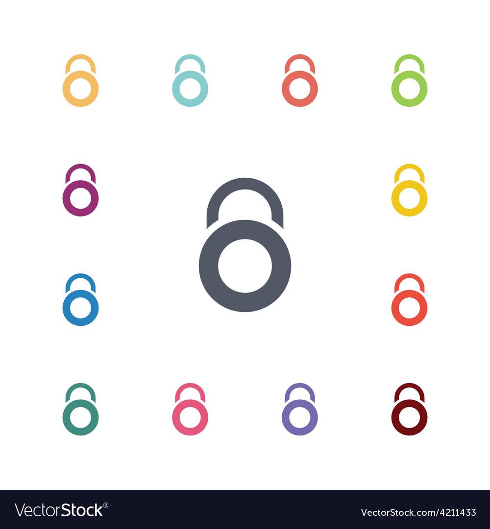 Lock flat icons set vector | Price: 1 Credit (USD $1)
