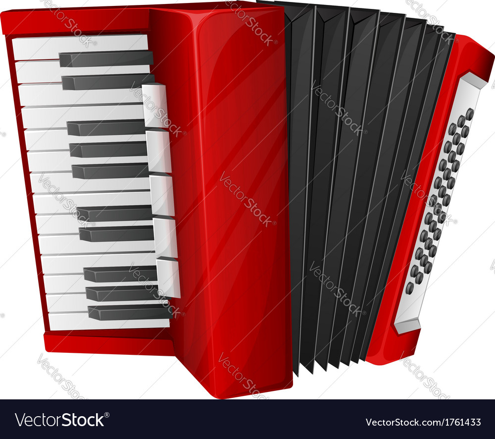 Red accordion isolated on white vector | Price: 1 Credit (USD $1)