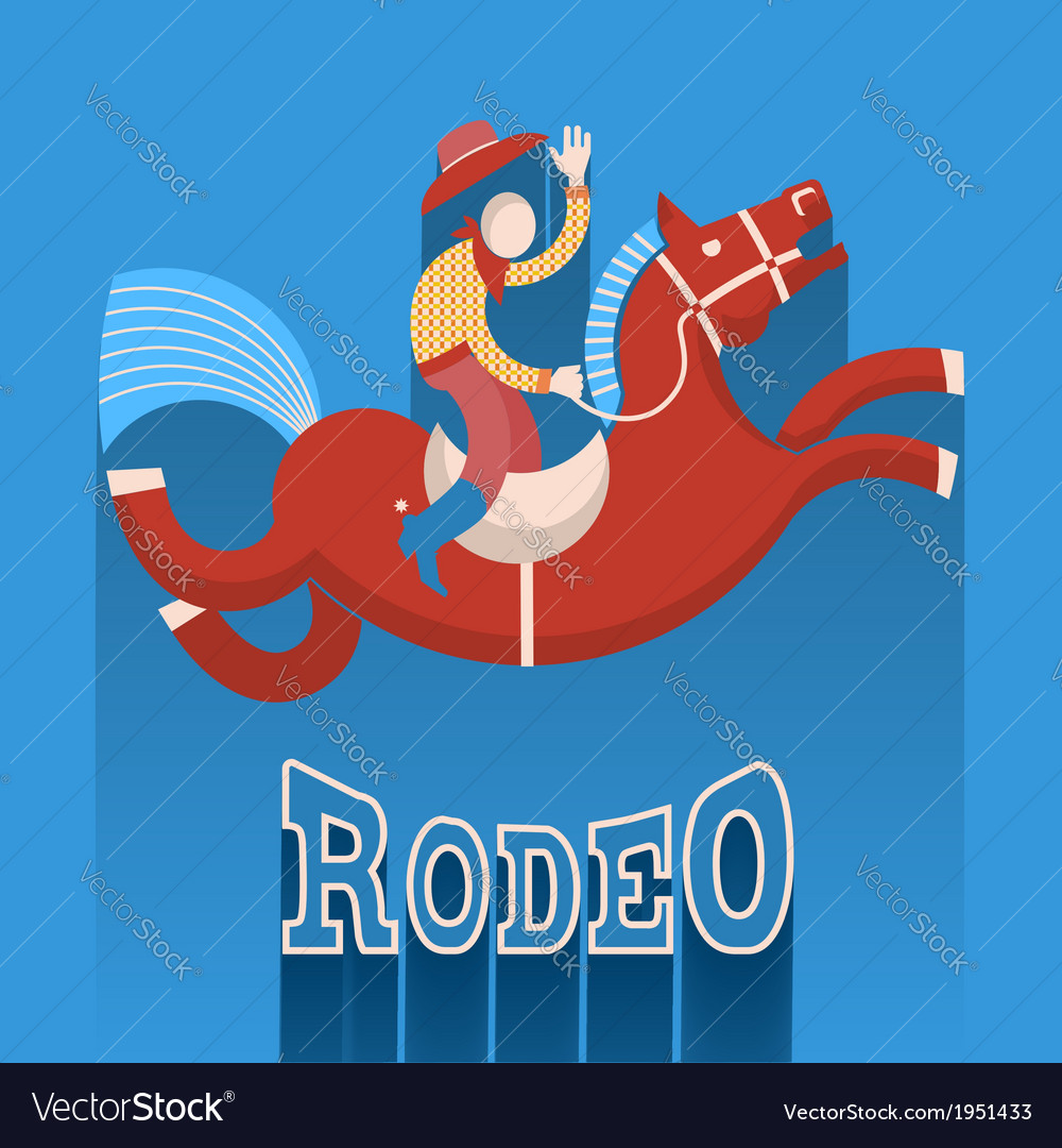 Rodeo postercowboy on horse vector | Price: 1 Credit (USD $1)