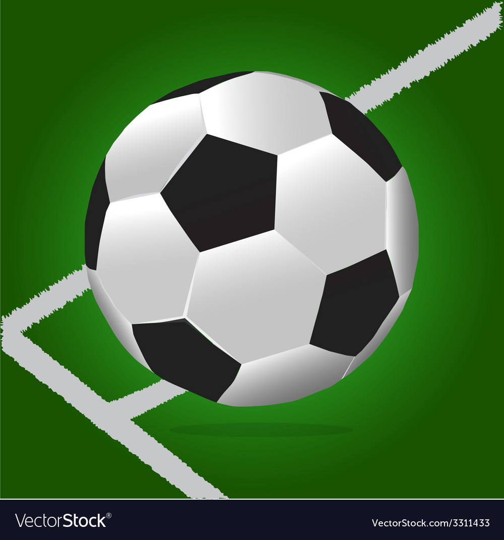 Soccer ball with green background and lines vector | Price: 1 Credit (USD $1)
