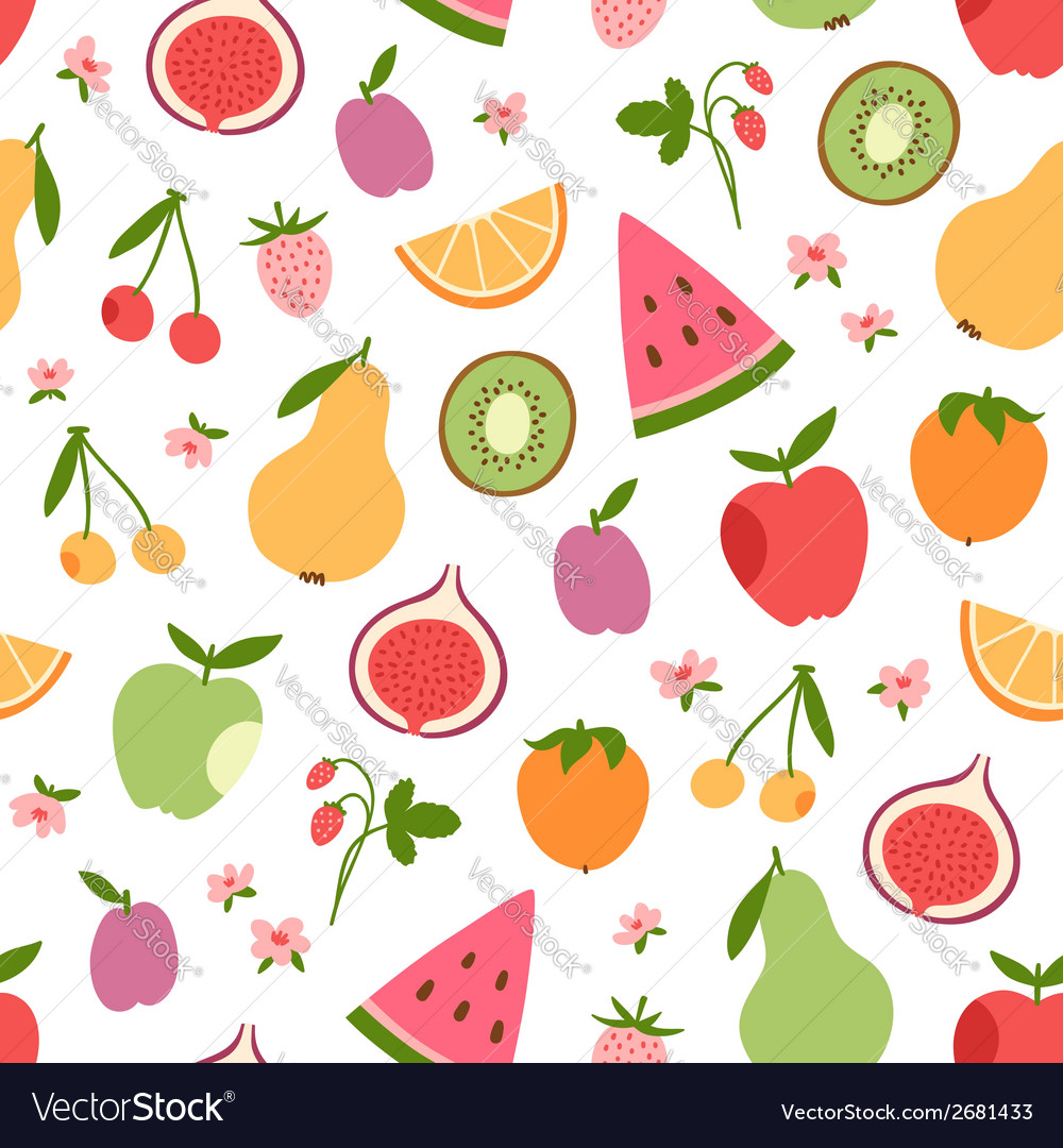 Stylized flat fruits berries and pink flowers vector | Price: 1 Credit (USD $1)