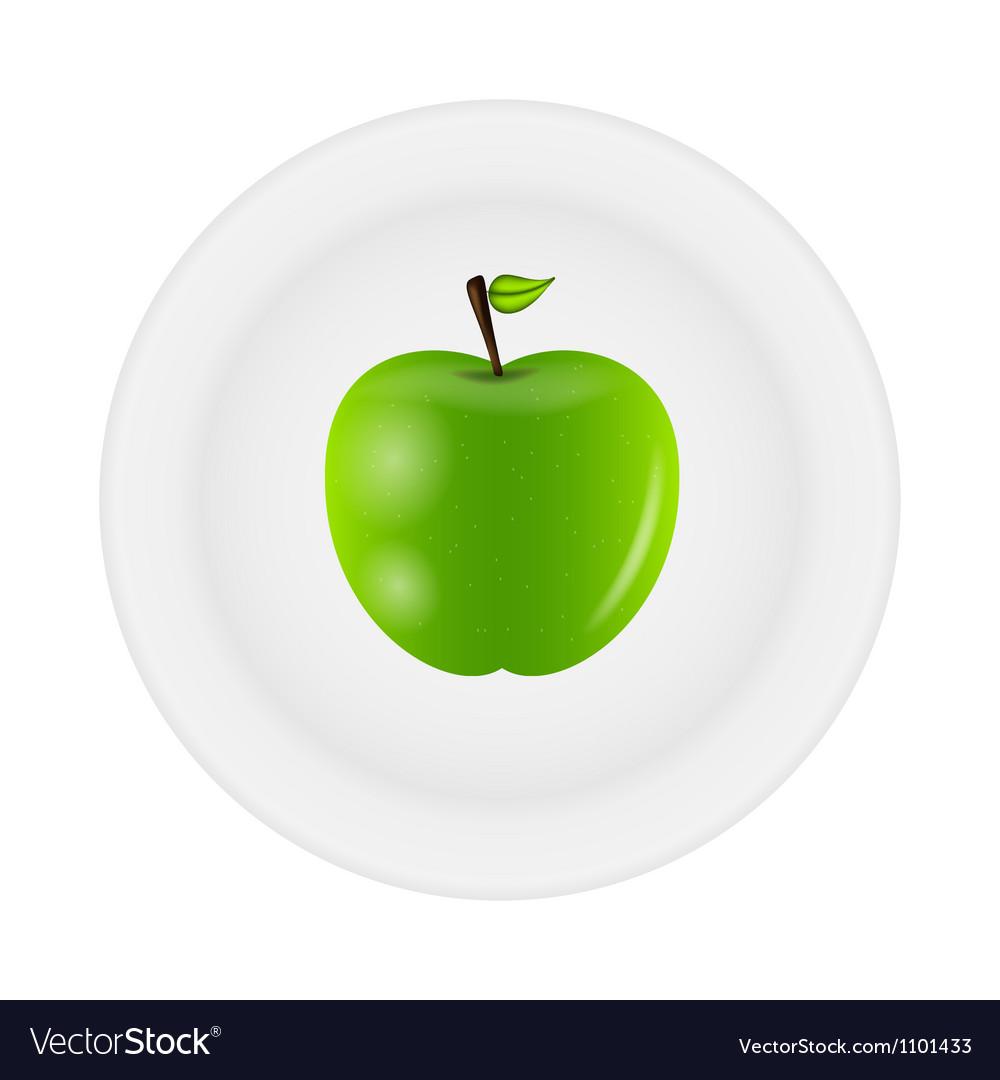 Sweet tasty apple on plate vector   Price: 1 Credit (USD $1)
