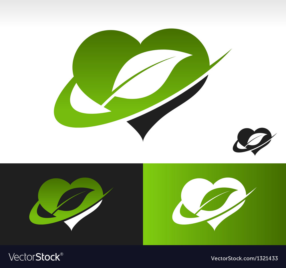 Swoosh green heart with leaf symbol vector | Price: 1 Credit (USD $1)