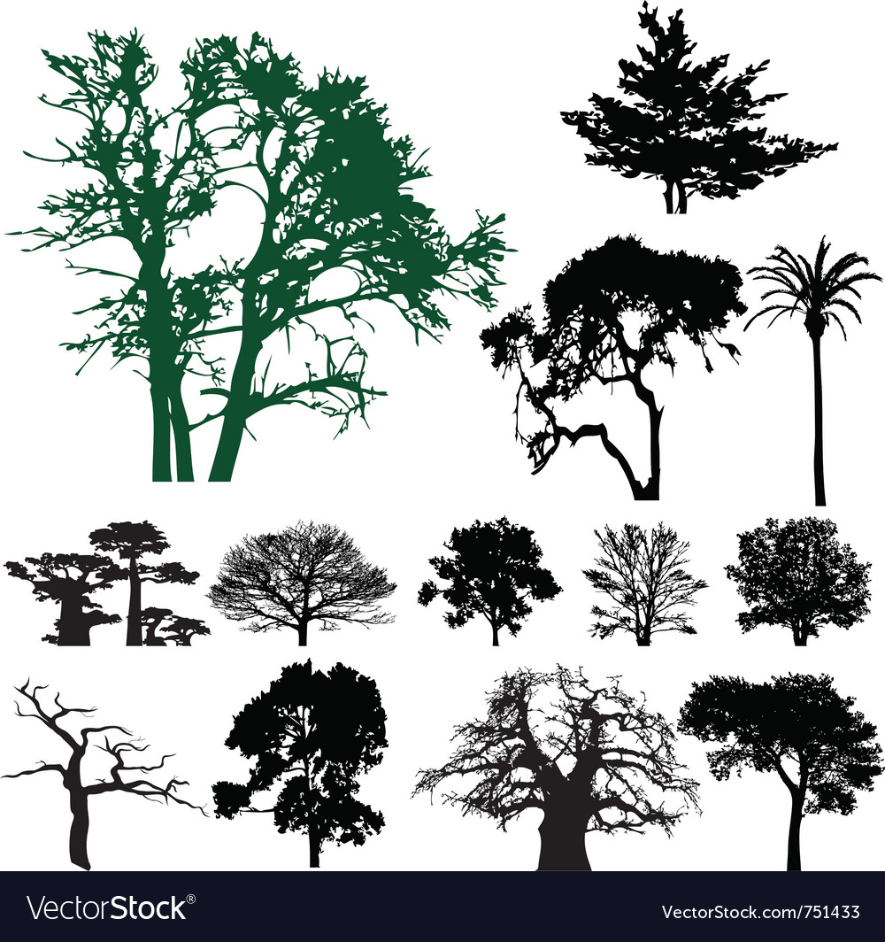 Tree silhouette vector | Price: 3 Credit (USD $3)