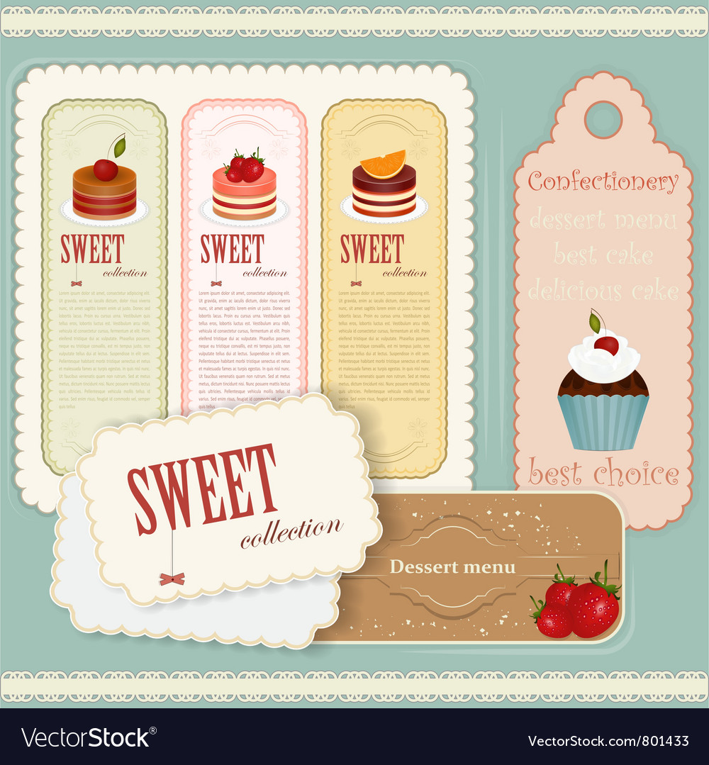 Vintage dessert menu vector | Price: 3 Credit (USD $3)