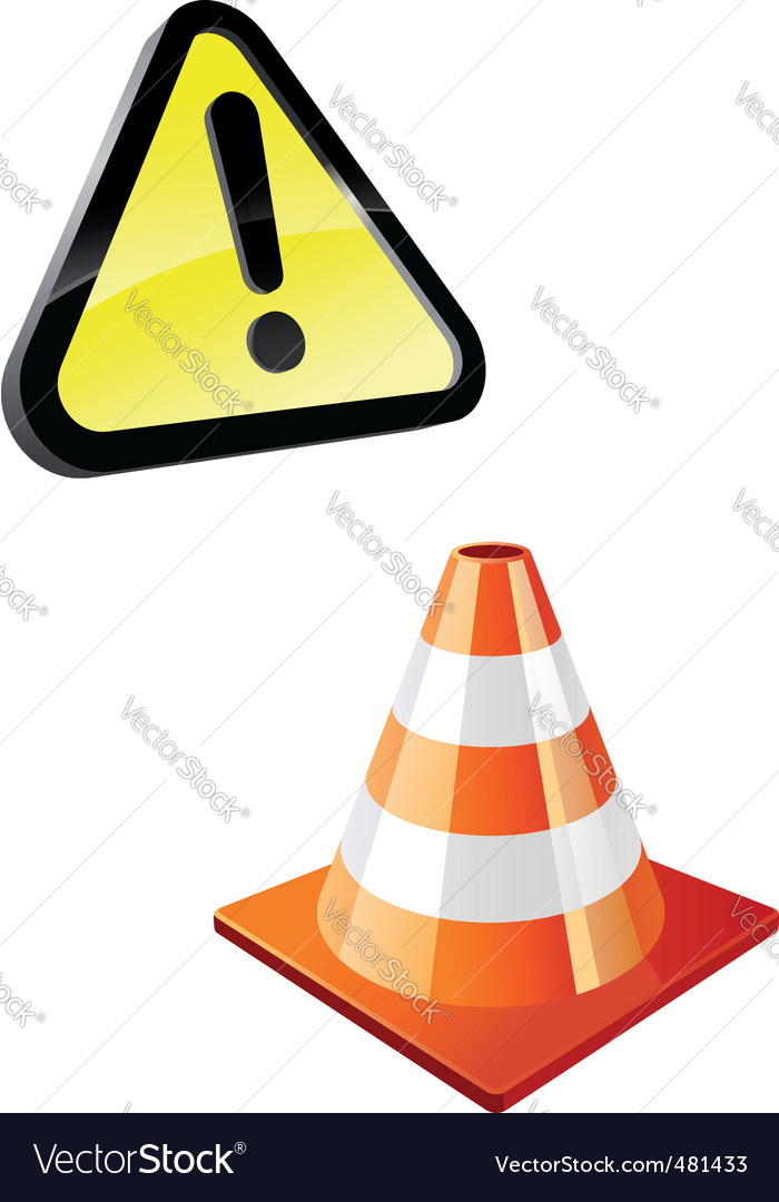 Warning sign and traffic cone vector | Price: 1 Credit (USD $1)