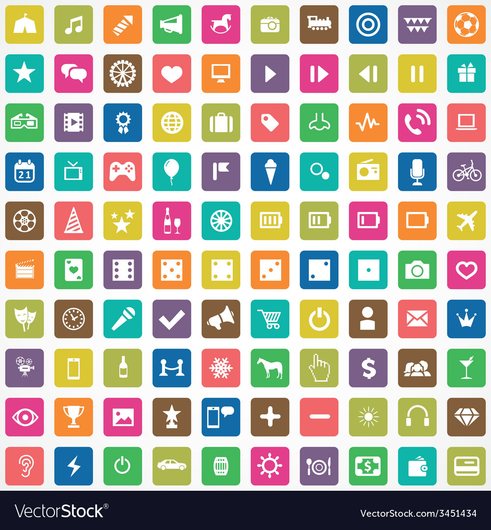 100 entertainment icons vector | Price: 1 Credit (USD $1)