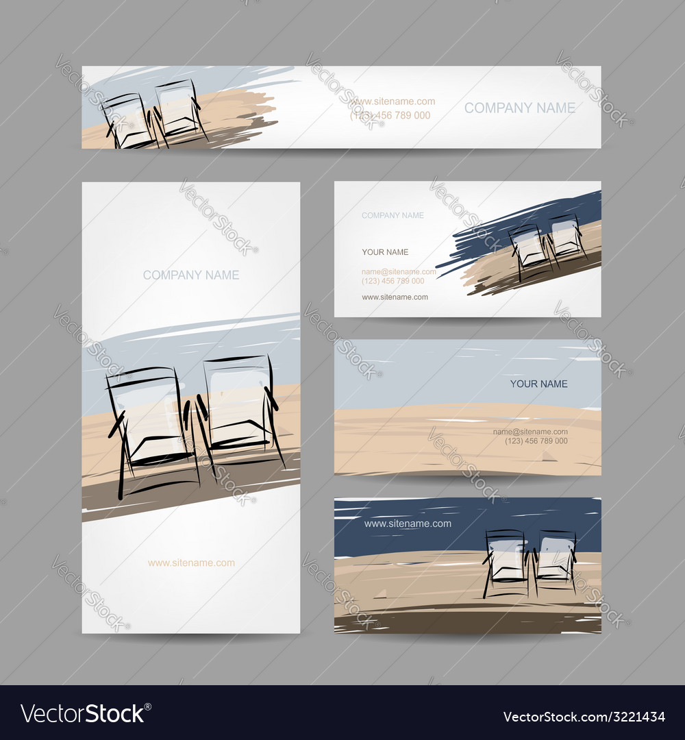 Business cards design chairs on the beach vector | Price: 1 Credit (USD $1)