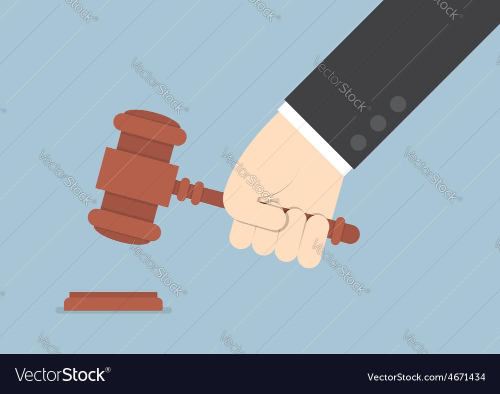 Businessman hand knocking judge gavel vector | Price: 1 Credit (USD $1)