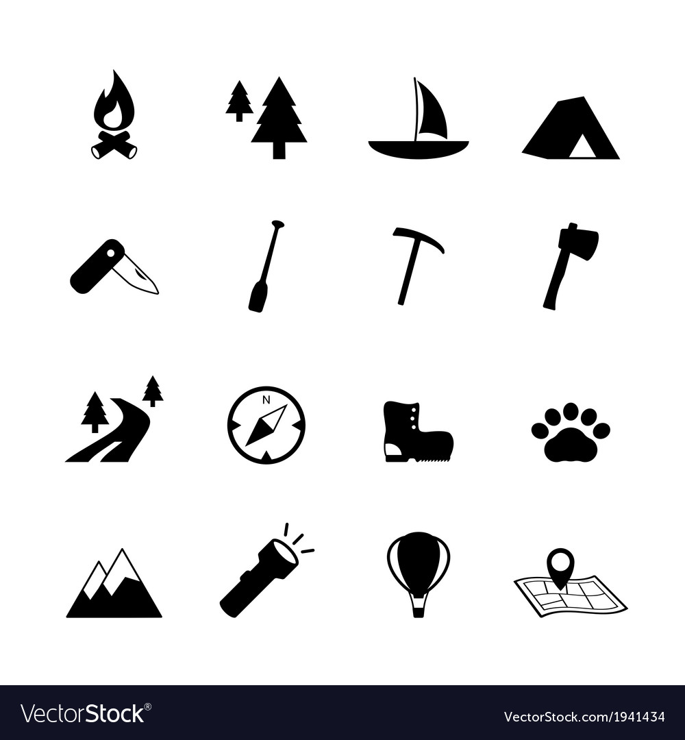 Outdoors tourism camping pictograms vector | Price: 1 Credit (USD $1)